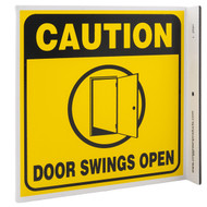 Caution Door Swings Open Wall-Projecting L-Sign w/ Door Icon
