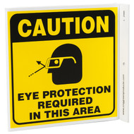 Caution Eye Protection Required In This Area Wall-Projecting L-Sign w/ Icon