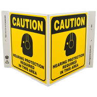 Picture of the Hearing Protection Required In This Area Wall-Projecting V-Sign w/ Icon.