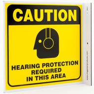 Hearing Protection Required In This Area Wall-Projecting L-Sign w/ Icon