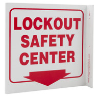 Lockout Safety Center Wall-Projecting L-Sign w/ Down Arrow