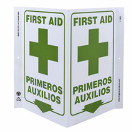A photograph of a 00264-g bilingual english/spanish first aid wall-projecting v-sign w/ icon and down arrow.