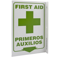 Bilingual English/Spanish First Aid Wall-Projecting L-Sign w/ Icon and Down Arrow
