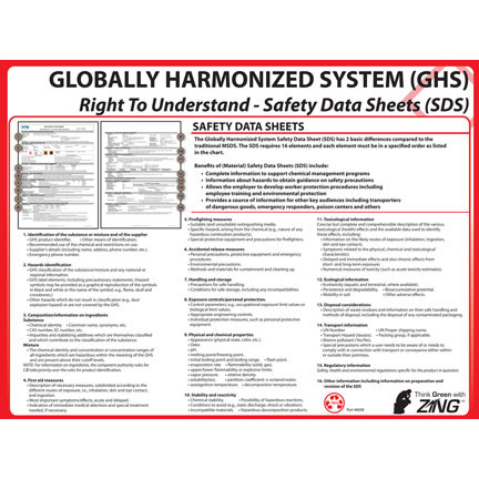 Photograph of the GHS, Right to Understand Safety Data Sheets Poster.