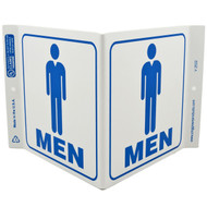 Mens Room Wall-Projecting V-Sign w/ Icon