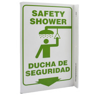 Bilingual English/Spanish Safety Shower Wall-Projecting L-Sign w/ Icon and Down Arrow