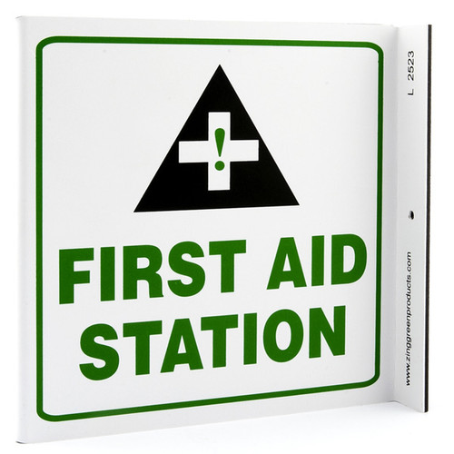 Photograph of the First Aid Station Wall-Projecting L-Sign w/ Icon.