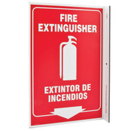 Photograph of the Bilingual English/Spanish Fire Extinguisher Wall-Projecting L-Sign w/ Icon and Down Arrow.
