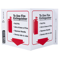 Photograph of the Fire Extinguisher PASS Instructional Wall-Projecting V-Sign w/ Icon and Down Arrow.