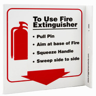 Photograph of the Fire Extinguisher PASS Instructional Wall-Projecting L-Sign w/ Icon and Down Arrow.