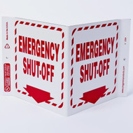 Photograph of the Emergency Shut-Off Wall-Projecting V-Sign w/ Down Arrow.