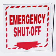 Emergency Shut-Off Wall-Projecting L-Sign w/ Down Arrow