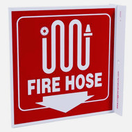 Fire Hose Wall-Projecting L-Sign w/ Icon and Down Arrow