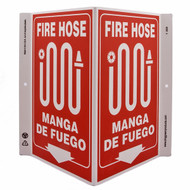 Bilingual English/Spanish Fire Hose Wall-Projecting V-Sign w/ Icon and Down Arrow
