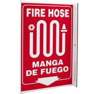 Bilingual English/Spanish Fire Hose Wall-Projecting L-Sign w/ Icon and Down Arrow