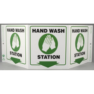 Photograph of the Hand Wash Station Tri-View Sign w/ Graphics and Down Arrow.