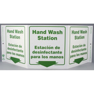 Photograph of the Bilingual English/Spanish Hand Wash Station Tri-View Sign w/ Down Arrow.