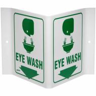 A photograph of a 00263-x rigid acrylic eye wash v-sign w/ graphics.