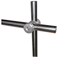 """A picture of an AAP153 90° Rod Connector and Clamp Holder with two 1/2"""" rods installed (sold separately)."""