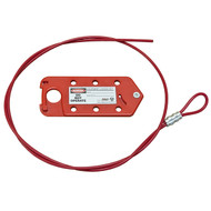 A photograph of a red 07021 Zing recycled 6-hole cable lockout with 6 foot cable.