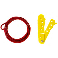 A photograph of a yellow 07136 Zing 4-hole cable lockout with 6-foot cable.