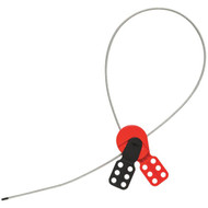 A photograph of a red and black 07137 Zing universal cable lockout with 3' cable.