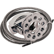 A photograph of a stainless steel 07138 Zing multipurpose cable lockout device with 6' cable.