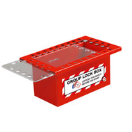 A photograph of a red 07062 26-lock red steel group lockout box with clear sliding lid.