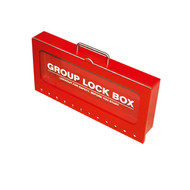 A photograph of a red 07063 portable wall-mountable group lockout box with clear window.