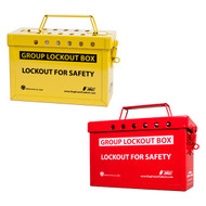 A photograph of a red and a yellow 07064 Zing Recyclockout group lockout boxes.
