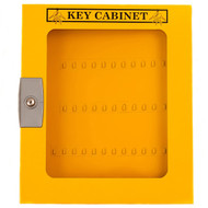 A photograph of a yellow 07067 lockout key cabinet with clear window and 160 key capacity.