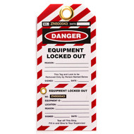 A photograph of a red and white 07092 equipment locked out lockout tag with perforated stub, and 10 per package.