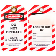 A photograph of front and back of a 07093 self-laminating lockout tag, with 10 per package.