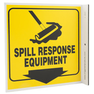 Spill Response Equipment Wall-Projecting L-Sign w/ Icon and Down Arrow