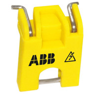 A photograph of a yellow 07131 ABB circuit breaker lockout device.