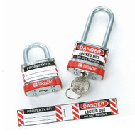 A photograph of a 07251 label for steel padlocks, with 6 per package applied to metal padlocks.