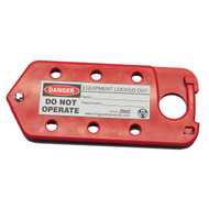 A photograph of a red 07261 Zing Recyclockout lockout tagout hasp/tag combination.
