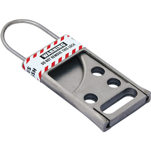 A photograph of a 07267 stainless steel lockout hasp.