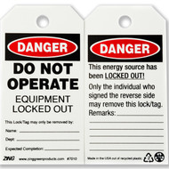 A photograph of front and back of a 07280 Zing Eco danger, do not operate equipment locked out tags, with 10 per package.