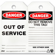 A photograph of front and back of a 07281 Zing Eco danger, out of service tag, with 10 per package.