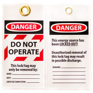 A photograph of front and back of a 07282 Zing Eco danger, do not operate lockout tag with grommets and striped highlight, and 10 per package.