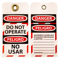 A photograph of front and back of a 07283 Zing Eco danger, do not operate lockout tags with grommets, in bilingual english/spanish, and 10 per package.