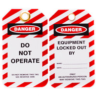 A photograph of front and back of a 07285 Zing Eco danger, do not operate lockout tags with grommets and red and white striping, and 10 per package.