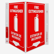 Photograph of the Bilingual English/Spanish Fire Extinguisher Wall-Projecting V-Sign w/ Icon and Down Arrow.