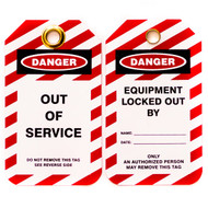 A photograph of front and back of a 07286 Zing Eco danger, out of service lockout tags with grommets and red and white striping, and 10 per package.