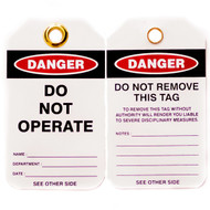 A photograph of front and back of a 07287 Zing Eco danger, do not operate lockout tags with grommets, and 10 per package.