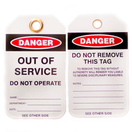 A photograph of front and back of a 07288 Zing Eco danger, out of service do not operate lockout tags with grommets, and 10 per package.