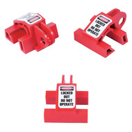 A photograph of front and sides of a red 07155 Zing Recyclockout™ multi-pole circuit breaker universal lockout, with 3 per package.