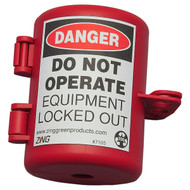A photograph of a red 07005 Zing Recyclockout™ small plug lockout device.