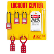 A photograph of a fully equipped 07053 Zing Recyclockout™ 3-padlock lockout/tagout station, with safety padlocks, lockout devices, and lockout tags.